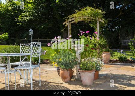 Scène de jardin avec table, chaises, pots de cosmos,cosmos chocolat,marguerites, et une arche Couverte de jasmin. Banque D'Images