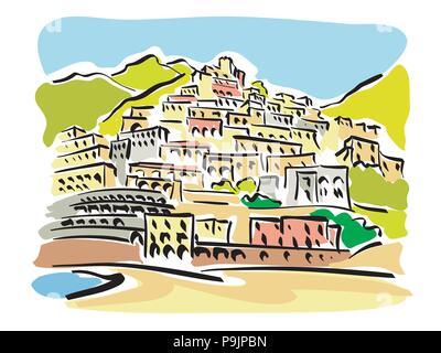 Vector illustration d'une vue panoramique sur la célèbre station touristique de Positano en Italie Banque D'Images