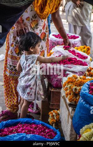 Jolie petite fille indienne avec une femme à la recherche de fleurs dans un décrochage dans Old Delhi, Inde Banque D'Images