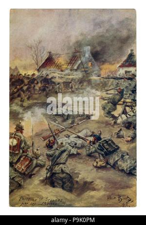 Carte postale historique français: Capture de Saint-Georges par les Belges. L'assaut de la ville par l'infanterie. Les troupes allemandes dans la défense. La première guerre mondiale