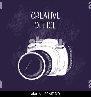 Creative Design de bureau avec l'icône de caméra photographique sur fond bleu, vector illustration Banque D'Images