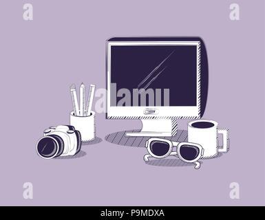 Ordinateur avec appareil photo et des lunettes de soleil sur fond violet, design coloré. vector illustration Banque D'Images