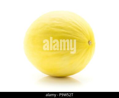 Un melon jaune isolé sur fond blanc Banque D'Images