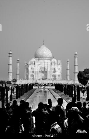 Le Taj Mahal, UNESCO World Heritage Site, Agra, Uttar Pradesh, Inde Banque D'Images