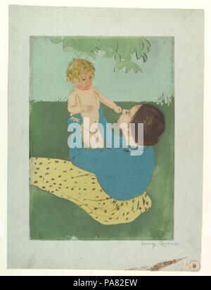 Sous le marronnier d'arbre. Artiste: Mary Cassatt (Américain, Pittsburgh, Pennsylvanie 1844-1926 Mesnil-Théribus, Oise). Dimensions: Plateau: 15 15/16 x 11 3/16 po. (40,5 x 28,4 cm): feuille 20 x 15 1/2 à 3/16. (52,1 x 38,6 cm). Date: 1896-97. Musée: Metropolitan Museum of Art, New York, USA. Banque D'Images