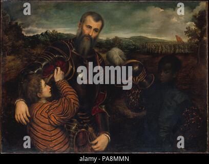 Portrait d'un homme en armure avec deux pages. Artiste: Paris Bordon (italien, 1500-1571) Venise Trévise. Dimensions: 46 x 62 in. (116,8 x 157,5 cm). Cette peinture montre un officier de haut rang avec deux pages, dont l'un, un africain, tient son casque tandis que l'autre se fixe l'armure sur son bras droit. Il appartient à une longue histoire de portraits de militaires, hommes en armure, mais le vaste paysage historique, avec ciel de l'avancée des armées, et l'ambiance de mélancolie sont uniques à Bordon. Bien que nous ne connaissons pas l'identité de la gardienne, qui a peut-être été milanais, ce travail était beaucoup Banque D'Images