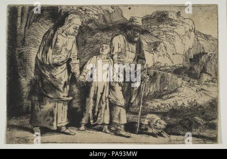 Le Christ entre ses parents, de retour de la Temple. Artiste: Rembrandt Rembrandt (van Rijn) (Néerlandais, Leyde 1606-1669 Amsterdam). Fiche Technique Dimensions: (découpés): 3 3/4 x 5 3/4 in. (9,6 × 14,6 cm). Date: 1654. Musée: Metropolitan Museum of Art, New York, USA. Banque D'Images