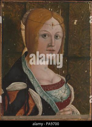 Portrait d'une femme Italienne. Artiste: peintre allemand actif (premier tiers du xvie siècle). Dimensions: 17 3/4 x 13 3/4 in. (45,1 x 34,9 cm). Musée: Metropolitan Museum of Art, New York, USA. Banque D'Images