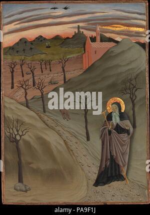 Saint Antoine l'Abbé dans le désert. Artiste: Osservanza Master (Italien, Siena, deuxième trimestre actif 15e siècle). Dimensions: Hors tout 18 3/4 x 13 5/8 in. (47,6 x 34,6 cm); surface peinte 18 1/2 x 13 1/4 in. (47 x 33,7 cm). Date: ca. 1435. Ce panneau fait partie d'un cycle de scènes illustrant la vie de l'ermite saint Antoine Abbé. Le penchant du peintre pour l'original et commentaire descriptif détail apparaît dans le traitement du paysage désertique et sa faune (symboles de la saint's temptations) sous le ciel lumineux au crépuscule. Un pot d'or dans le coin inférieur gauche (qui a bee Banque D'Images
