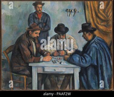Les joueurs de cartes. Artiste: Paul Cézanne (Français, Aix-en-Provence 1839-1906 Aix-en-Provence). Dimensions: 25 3/4 x 32 1/4 in. (65,4 x 81,9 cm). Date: 1890-92. C'est probablement la première d'une série de cinq tableaux que Cézanne consacré aux paysans les cartes à jouer. À l'enrôlement d'ouvriers agricoles locaux pour servir de modèles, il a peut-être inspiré pour sa scène de genre d'une peinture du 17e siècle par les frères Le Nain dans le musée dans sa ville natale d'Aix. Le Metropolitan's photo a été suivi d'une version deux fois sa taille, qui comprend une autre figure d'un enfant debout à droite (Barne