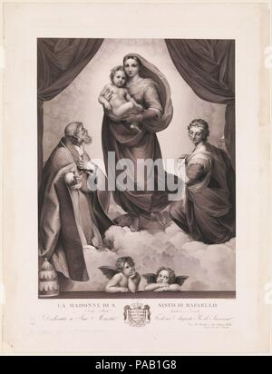 La Madone Sixtine. Artiste: Après Raphael (Raffaello Sanzio ou Santi) (Italien, Urbino 1483-1520 Rome); Johann Friedrich Wilhelm Müller (allemand, 1782-1816). Dimensions: Plateau: 30 x 22 1/4 in. (76,8 x 55,9 cm): feuille 34 x 26 3/4 à 1/2. (88,3 x 67,3 cm). Imprimante: Imprimé par Seidelmann (allemand). Editeur: Publié par corne Rittner. Date: n.d.. Musée: Metropolitan Museum of Art, New York, USA. Banque D'Images