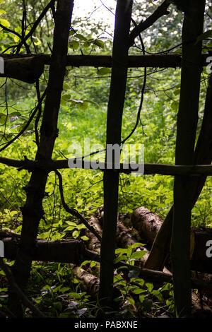 À travers une clôture faite de branches rugueuses dans la forêt dans la région près de Gorge Nidd Knaresborough. Banque D'Images