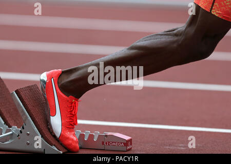 Londres, Royaume-Uni. 21 juillet 18. ALLEN Nathon (Jamaïque) morte à la men's 400m au final, 2018, l'IAAF Diamond League Jeux Anniversaire, Queen Elizabeth Olympic Park, Stratford, London, UK. Crédit: Simon Balson/Alamy Live News