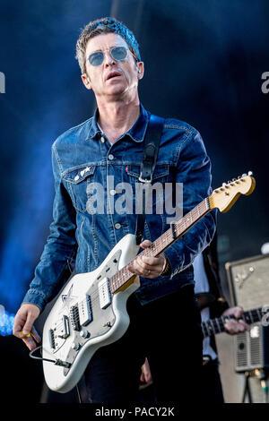 Noel Gallagher effectue sur scène avec Noel Gallagher's High Flying Birds au Jalonnages Festival à Sheffield, UK, 2018. Banque D'Images
