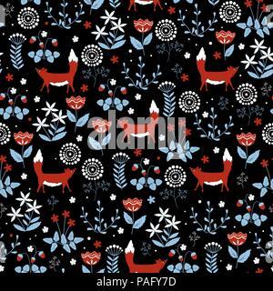 Modèle sans couture avec mignon renard rouge sur fond de fleurs le doodle. Vecteur élégant arrière-plan. Banque D'Images