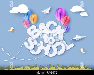 Retour à l'école 1 septembre bannière avec des ballons d'air. Vector illustration. Modèle de coupe de papier.