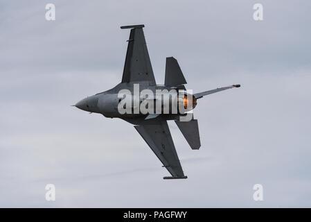 Lockheed Martin F-16 Fighting Falcon fighter jet de l'US Air Force au Farnborough International Airshow, FIA 2018. General Dynamics F16. Réchauffer, de postcombustion. USAFE Lockheed Martin F-16C Fighting Falcon du 480e Escadron de chasse de Spangdahlem Allemagne