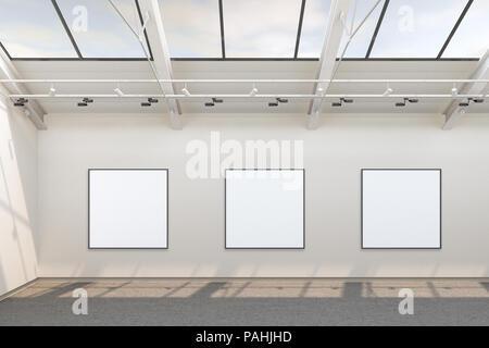 Galerie vide intérieur avec trois cases vides square affiches avec chemin de détourage autour des bannières. 3d illustration Banque D'Images