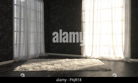 Le rendu 3D de la salle vide, mobilier en marbre et tapis Banque D'Images