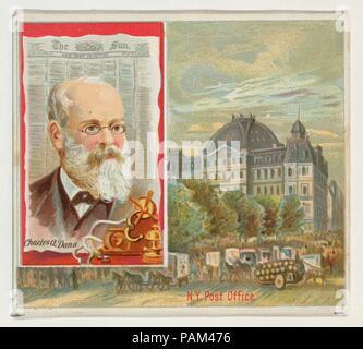 Charles A. Dana, le New York Sun, de l'American Editors series (N35) pour Allen & Ginter Cigarettes. Fiche Technique: Dimensions: 2 7/8 x 3 1/4 in. (7,3 x 8,3 cm). Editeur: Publié par Allen & Ginter (Américain, Richmond, Virginie). Date: 1887. Les cartes de la série 'American Editors' (N35), publié en 1887 dans un jeu de 50 cartes pour promouvoir Allen & Ginter cigarettes d'une marque. Cette série est une version plus grande de la 'American Editors' set (N1), y compris la petite carte correspondante avec la conception d'autres images ajoutées. Musée: Metropolitan Museum of Art, New York, USA. Banque D'Images