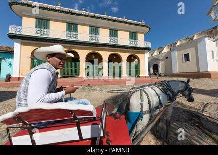 Chariot connu localement comme une coche sur la Plaza Mayor, au patrimoine mondial de l ville de Trinidad, Cuba. Banque D'Images