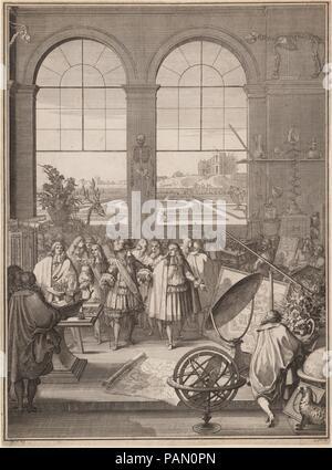 Louis XIV visitant l'Académie Royale des Sciences. Artiste: Sébastien Leclerc je (Français, Metz 1637-1714 Paris). Fiche technique: Dimensions: 16 1/2 x 12 1/8 in. (41,9 x 30,8 cm). Date: 1671. Aussi connu sous le nom de l'oeuvre: MÉMOIRES POUR SERVIR A L'HISTOIRE DES ANIMAUX. Musée: Metropolitan Museum of Art, New York, USA. Banque D'Images