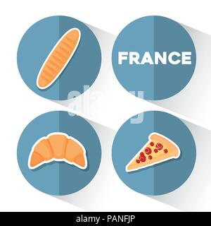 La France sur l'ensemble de l'icône de cercles bleus et fond blanc, vector illustration Banque D'Images