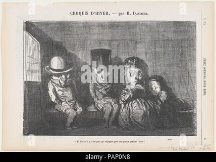 """D'imaginer qu'il y a des gens qui même voyager en hiver pour le plaisir et la jouissance!, de 'l'Hiver', croquis publié dans Le Petit Journal pour rire, le 3 décembre 1864. Artiste: Honoré Daumier (Français, Marseille 1808-1879) Valmondois. Dimensions: Image: 6 × 5/16 9 1/2 in. (16 × 24,2 cm): 8 Feuille 1/8 × 11 5/8 in. (20,7 × 29,5 cm). Imprimante: Destouches (Paris). Editeur: Aaron Martinet (Français, 1762-1841). Series/portefeuille: """"croquis d'hiver' (soirées d'hiver). Date: 3 décembre 1864. - Mais où allez-vous? Le lièvre n'est pas dans cette direction! - Celui que je vais être manger comme un ragoût est. Musée: rencontré Banque D'Images"""