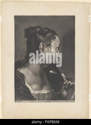 Portrait d'une jeune femme tenant un masque. Artiste: Après Giovanni Battista Piazzetta (Venise, Italie Venise 1682-1754); Johann Lorenz Haid, Kleineislingen allemand (1702-1750) d'Augsbourg. Dimensions: Plateau: 15 × 10 5/8 à 3/16. (38,6 × 27 cm) feuille: 19 1/4 × 14 1/4 in. (48,9 × 36,2 cm). Editeur: Johann Christian Leopold , Augsbourg. Date: ca. Années 1750. Musée: Metropolitan Museum of Art, New York, USA. Banque D'Images