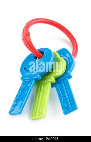 Jouets en plastique coloré, isolé des clés de dentition pour bébé Banque D'Images