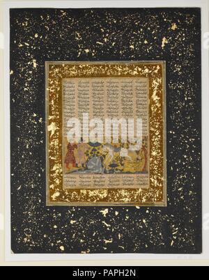 Yazdegird 'j'ai lancé à la mort par l'eau, des chevaux d'un folio Shahnama (Livre des Rois). Auteur: Abu'l Qasim Firdausi (935-1020). Dimensions: Peinture: H. 2 1/8 in. (5,4 cm) W. 4 7/8 in. (12.4 cm) Page: H. 14 in. (35,6 cm) 10 W. 13/16 in. (27,5 cm) TMC: H. 19 1/4 in. (48,9 cm) 14 1/4 in. W. (36,2 cm). Date: ca. 1300-30. La légendaire mort du roi sassanide Yazdegerd J-qui aurait été frappé par un cheval qui est sorti d'une de printemps est représenté dans cette feuille d'un manuscrit dispersé du Shahnama (Livre des Rois) de Firdausi, un de quelques codices de sm Banque D'Images