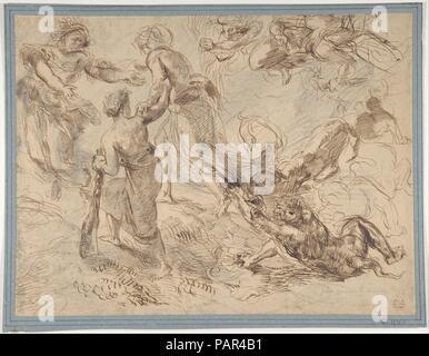 Le triomphe du génie sur l'envie. Artiste: Eugène Delacroix (Français, Charenton-Saint-Maurice 1798-1863 Paris). Dimensions: 10-3/8 x 13-13/16 in. (26,4 x 35,1 cm). Date: ca. 1849-51. Musée: Metropolitan Museum of Art, New York, USA. Banque D'Images
