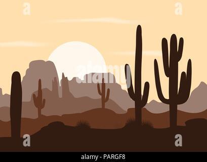 Matin paysage avec cactus Saguaro et les montagnes. Vector illustration. Palette brun mignon