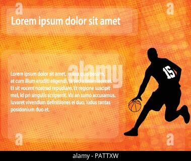 Basket-ball sur la silhouette abstract background - vector Banque D'Images