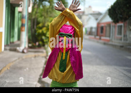14 juillet 2018 - Barranquilla, Departamento del Atlantico, Colombie - l'un des plus important et connu est la Marimonda, est originaire de Barranquilla, ce caractère est représenté par sa propre danse. Le costume a été créé par un Barranquillero pauvres, cet homme l'a créé parce qu'il ne pouvait pas se permettre d'être cher ou de la fantaisie des costumes pour le carnaval. Alors il a décidé de prendre une paire de pantalon de son frère aîné, où des chaussettes dans ses mains et un gilet à l'envers. Pour terminer son costume il prit un sac fait deux cercles pour les yeux et un long nez qui tombe des yeux. Bataille de fleurs,