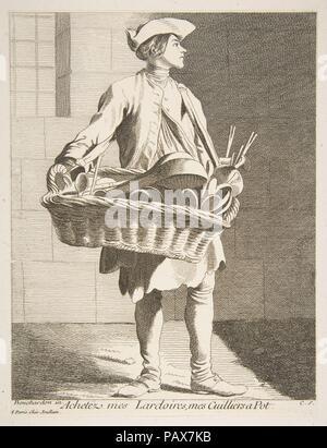 Une batterie de colporteur. Artiste: Anne Claude Philippe de Amanda et Antony, comte de Caylus (français, Paris 1692-1765 Paris); Après Edme Bouchardon (Français, Chaumont 1698-1762 Paris). Fiche Technique: Dimensions: 9 x 7 5/16 1/16 in. (23,6 x 17,9 cm) de droit: 8 7/8 x 6 15/16 in. (22,5 x 17,7 cm). Editeur: François Joullain (français, Paris 1697-1778 Paris). Series/portefeuille: Cris de Paris: Cinquième Set (Études prises dans le bas peuple où les Cris de Paris: Cinquième Suite). Date: 1746. Musée: Metropolitan Museum of Art, New York, USA. Banque D'Images