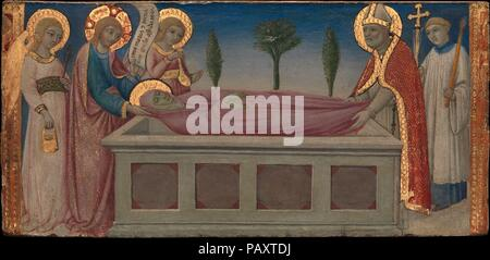 L'enterrement de Sainte Marthe. Artiste: Sano di Pietro (Ansano di Pietro di Mencio) (Italien, Sienne Sienne 1405-1481). Dimensions: 5 1/2 x 11 1/2 in. (14 x 29,2 cm). Date: ca. 1460-70. La Légende dorée décrit comment Saint Fronto, le premier évêque de Périgueux, dans le sud de la France, rêvé qu'il a aidé le Christ à l'enterrement de Sainte Marthe, l'une des deux soeurs de Lazare, que le Christ ressuscité des morts. L'inscription sur le livre fait référence au fait que le Christ avait été un invité dans leur maison. Le style est étroitement liée à Sano de miniaturiste. Musée: Metropolitan Museum of Art, NW Banque D'Images