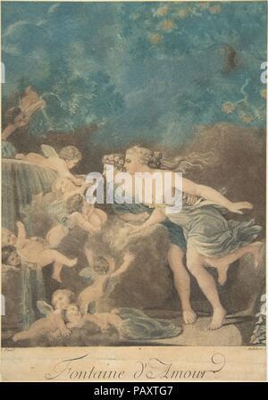 La fontaine d'amour. Artiste: Après Jean Honoré Fragonard (Grasse, France 1732-1806 Paris); Jean-Baptiste Audebert (Français). Dimensions: Image: 10 × 3/8 7 1/4 in. (26,3 × 18,4 cm). Date: n.d.. Musée: Metropolitan Museum of Art, New York, USA.
