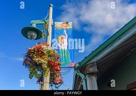 Poteau d'éclairage avec suspension et Mermaid Quay Harbour, bannière, Port Alberni, Colombie-Britannique, Canada Banque D'Images