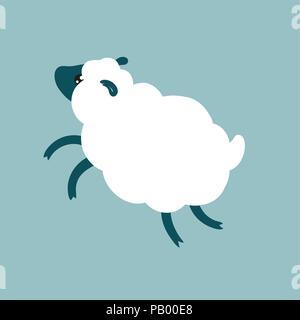 Moutons en cute cartoon style télévision jumping bébé animal car l'agneau vector illustration Banque D'Images