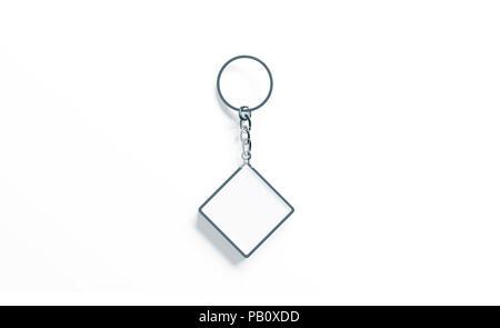 c8e93ad33bb4 Avec clé en acier carré vide dans le trousseau de serrure de porte en bois  · Métal blanc blanc chaîne rhombus clé maquette vue de dessus, rendu 3d.