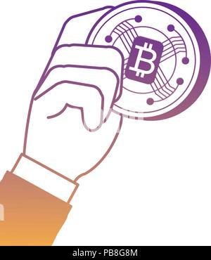 Main tenant une pièce de monnaie bitcoin sur fond blanc, vector illustration Banque D'Images