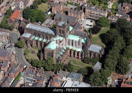 Vue aérienne de la cathédrale de Chester, Cathédrale de l'Église du Christ et de la Bienheureuse Vierge Marie, Cheshire, Royaume-Uni