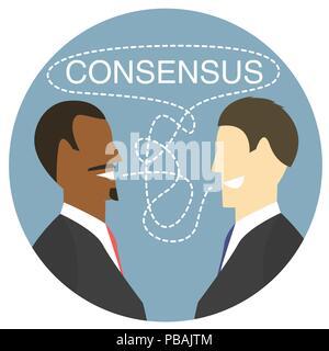 Design plat accord icône, vector illustration des débats qui mène à un consensus Banque D'Images