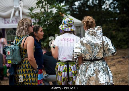 Festival WOMAD, Charlton Park, Wiltshire, Royaume-Uni. 28 juillet 2018. Scènes au 2018, le WOMAD festival de musique, d'art et de la danse. Comme la canicule britannique vient à une fin abrupte, festivaliers profitez d'orages intermittents, des vents forts et un soleil brillant. Credit: Francesca Moore/Alamy Live News Banque D'Images