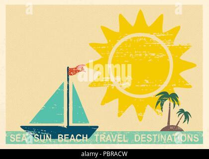 Vintage carte postale avec l'été et les éléments liés à la mer 1 Banque D'Images
