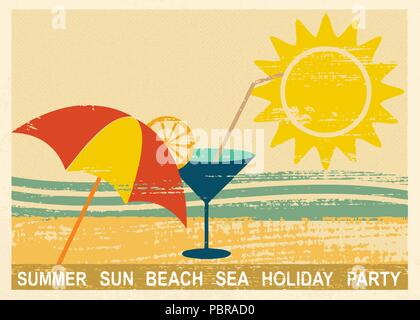 Vintage carte postale avec l'été et les éléments liés à la mer 2 Banque D'Images
