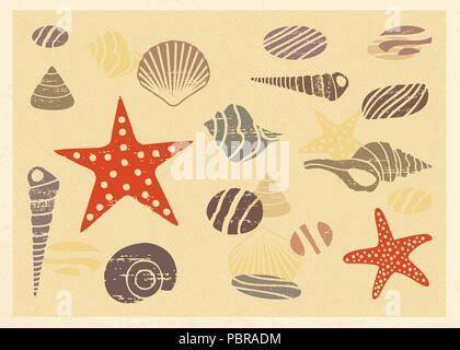 Vintage carte postale avec l'été et les éléments liés à la mer 5 Banque D'Images