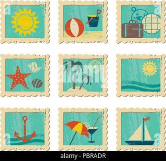 Les icônes d'été vintage en images Banque D'Images