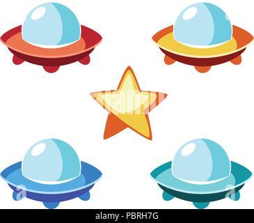 Illustration de caricature des soucoupes volantes en différentes couleurs et de star pour un jeu Banque D'Images